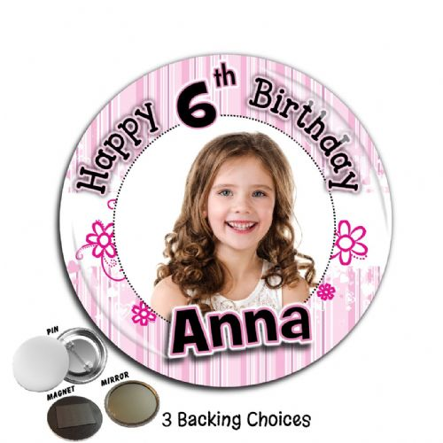 Large 75mm Personalised Pink Glam Happy Birthday PHOTO Badge N37